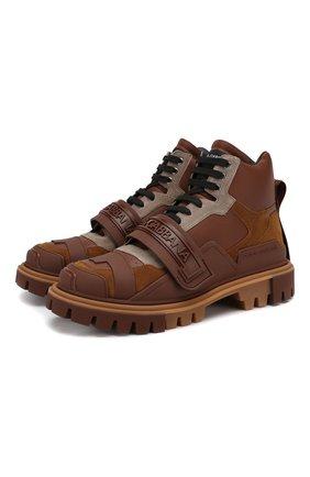 Мужские комбинированные ботинки DOLCE & GABBANA темно-коричневого цвета, арт. CS1699/AJ012 | Фото 1