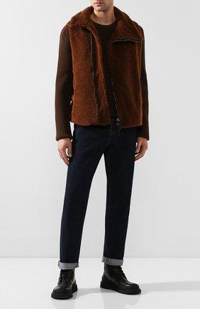 Мужской шерстяной жилет GIORGIO ARMANI коричневого цвета, арт. 9WGGK014/T017S   Фото 2 (Материал подклада: Синтетический материал; Длина (верхняя одежда): Короткие; Материал внешний: Шерсть; Мужское Кросс-КТ: Верхняя одежда; Кросс-КТ: Куртка; Стили: Кэжуэл)