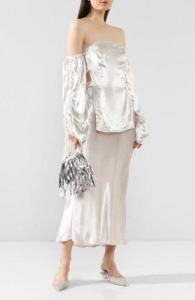 Женские текстильные мюли alia CULT GAIA серебряного цвета, арт. C-01GL   Фото 2 (Каблук высота: Низкий; Материал внутренний: Натуральная кожа; Материал внешний: Текстиль; Каблук тип: Устойчивый, Фигурный; Подошва: Плоская)