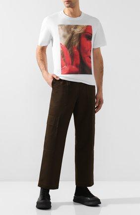 Мужская хлопковая футболка RAF SIMONS белого цвета, арт. 192-111-19001 | Фото 2