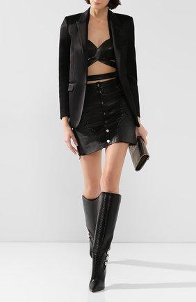 Женская кожаный топ ALAIA черного цвета, арт. 9W9UF94CC013 | Фото 2