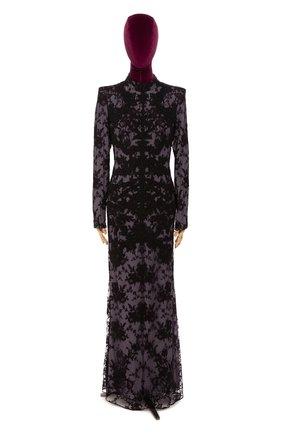Женское платье-макси ALEXANDER MCQUEEN фиолетового цвета, арт. 393344/QFZ14 | Фото 1