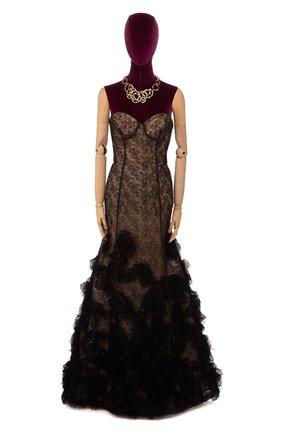 Женское платье-макси OSCAR DE LA RENTA черного цвета, арт. F15E073BLK | Фото 1