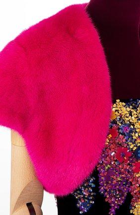 Женская накидка из меха норки SAINT LAURENT фуксия цвета, арт. 277098/Y7NEP | Фото 2