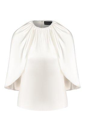 Женская шелковый топ BRANDON MAXWELL белого цвета, арт. TP206FW19 | Фото 1