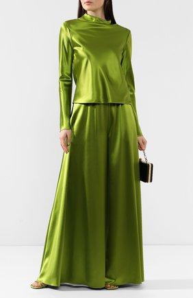 Женская шелковая блузка BRANDON MAXWELL зеленого цвета, арт. TP211FW19HC | Фото 2