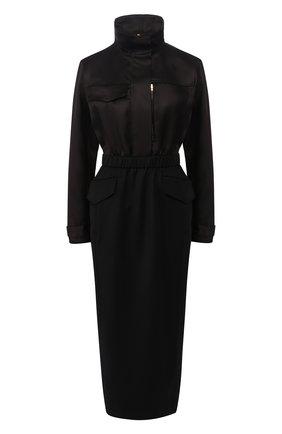 Женское шерстяное платье BRANDON MAXWELL черного цвета, арт. DR161FW19 | Фото 1