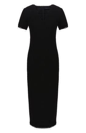 Женское шерстяное платье BRANDON MAXWELL черного цвета, арт. DR180FW19 | Фото 1