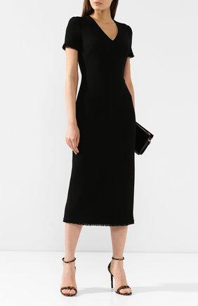 Женское шерстяное платье BRANDON MAXWELL черного цвета, арт. DR180FW19 | Фото 2