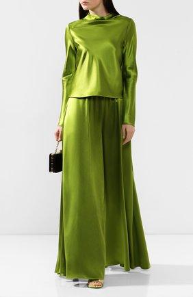 Женские шелковые брюки BRANDON MAXWELL зеленого цвета, арт. PT120FW19 | Фото 2