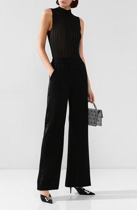 Женские шерстяные брюки BRANDON MAXWELL черного цвета, арт. PT121FW19 | Фото 2
