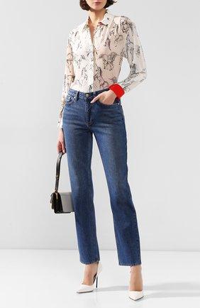 Женские джинсы BURBERRY синего цвета, арт. 8019165 | Фото 2