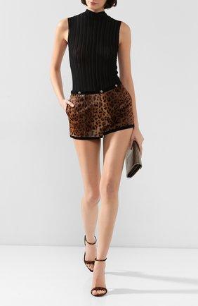 Женские кожаные шорты SAINT LAURENT леопардового цвета, арт. 584927/Y7SQ2 | Фото 2