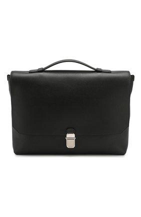 Мужской кожаный портфель DUNHILL черного цвета, арт. DU19F3400AR   Фото 1