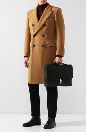 Мужской кожаный портфель DUNHILL черного цвета, арт. DU19F3400AR   Фото 2