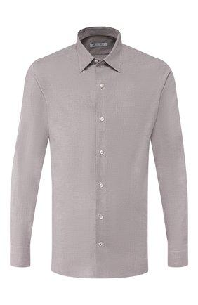 Мужская хлопковая рубашка LORO PIANA коричневого цвета, арт. FAI7808 | Фото 1