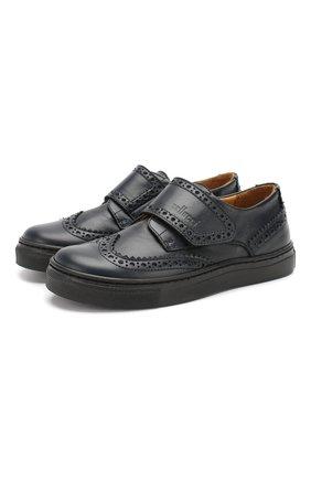 Детские кожаные туфли GALLUCCI темно-синего цвета, арт. J20032NM/SC P V VIT/VIT | Фото 1