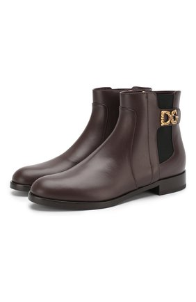 Женские кожаные ботинки rodeo DOLCE & GABBANA бордового цвета, арт. CT0596/A3444 | Фото 1