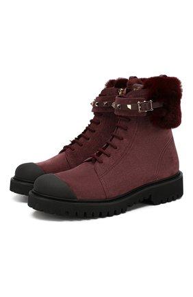Женские замшевые ботинки valentino garavani rockstud VALENTINO бордового цвета, арт. SW0S0R67/RAG | Фото 1