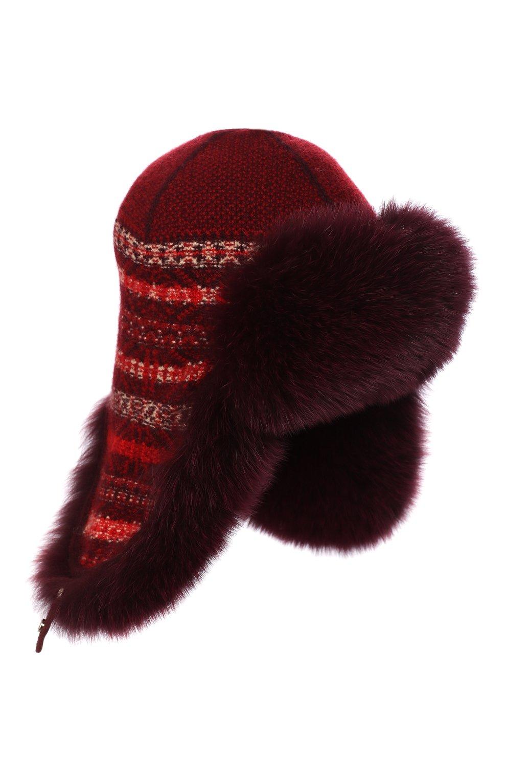 Женская шапка-ушанка с мехом лисицы LORO PIANA красного цвета, арт. FAI8727 | Фото 1