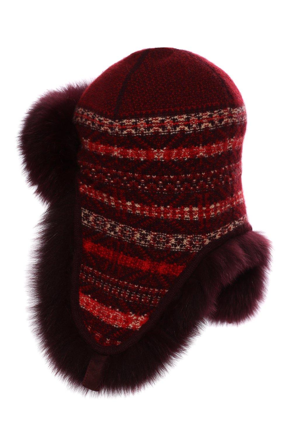 Женская шапка-ушанка с мехом лисицы LORO PIANA красного цвета, арт. FAI8727 | Фото 2