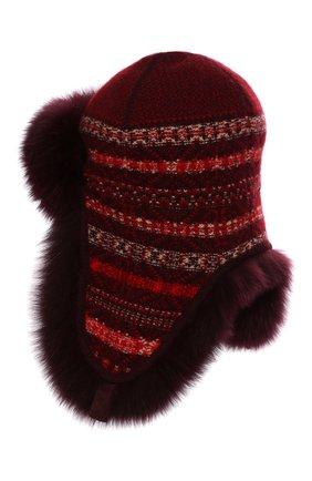 Женский шапка-ушанка с мехом лисицы LORO PIANA красного цвета, арт. FAI8727 | Фото 2