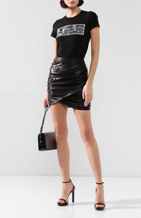 Женская кожаная юбка PHILIPP PLEIN черного цвета, арт. WLV0050 | Фото 2