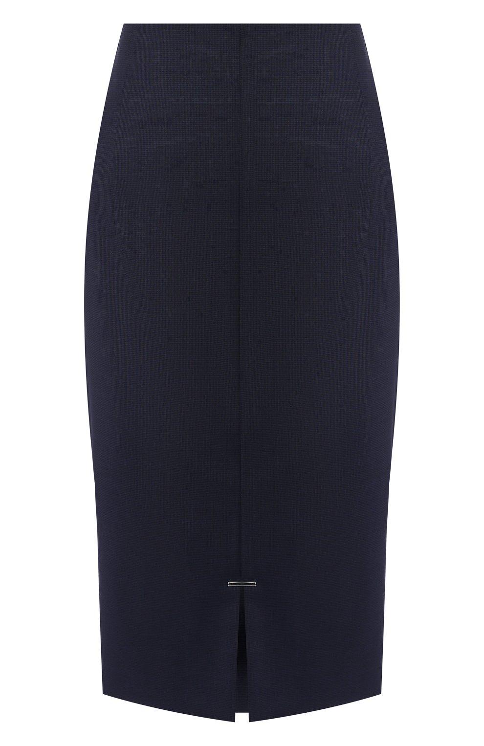 Женская шерстяная юбка BOSS темно-синего цвета, арт. 50414389 | Фото 1