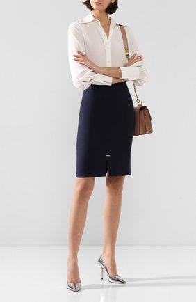 Женская шерстяная юбка BOSS темно-синего цвета, арт. 50414389 | Фото 2