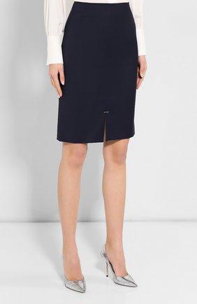 Женская шерстяная юбка BOSS темно-синего цвета, арт. 50414389 | Фото 3