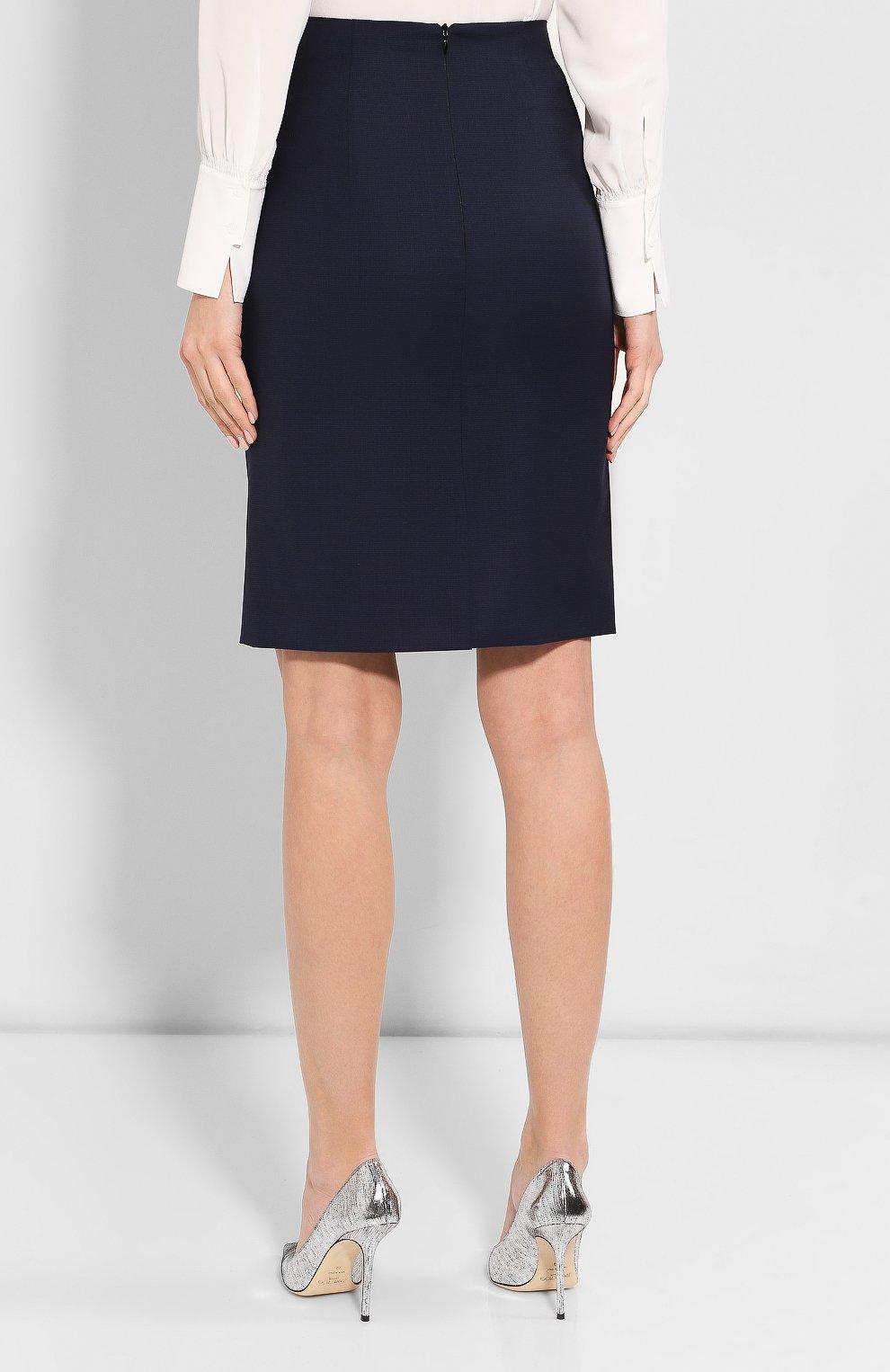 Женская шерстяная юбка BOSS темно-синего цвета, арт. 50414389 | Фото 4