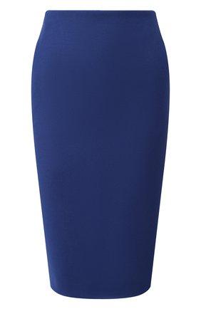 Женская шерстяная юбка BOSS синего цвета, арт. 50416631 | Фото 1