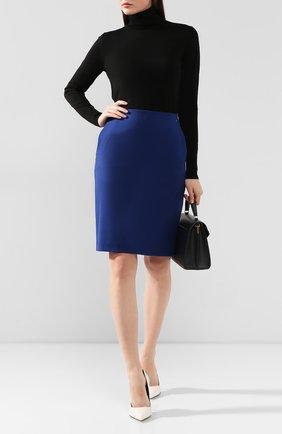 Женская шерстяная юбка BOSS синего цвета, арт. 50416631 | Фото 2