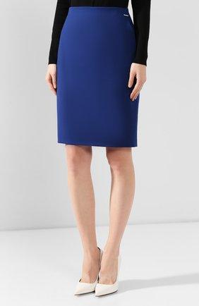 Женская шерстяная юбка BOSS синего цвета, арт. 50416631 | Фото 3