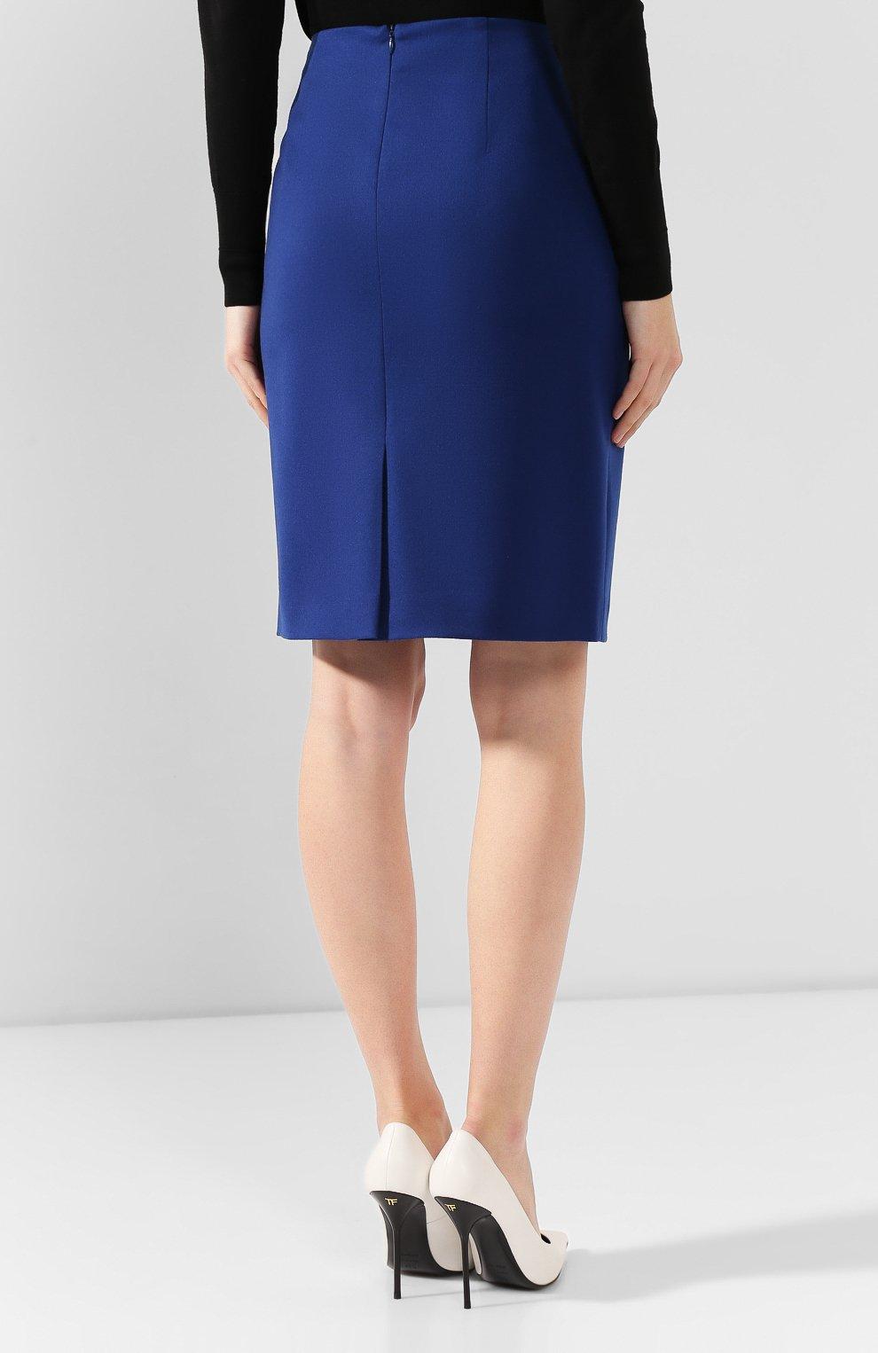 Женская шерстяная юбка BOSS синего цвета, арт. 50416631 | Фото 4
