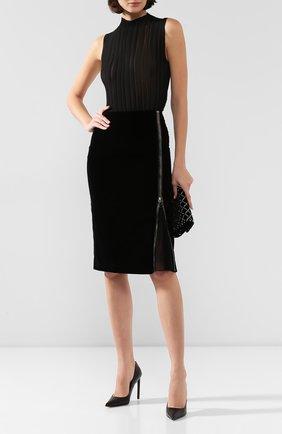 Женская хлопковая юбка TOM FORD черного цвета, арт. GC5445-FAX171 | Фото 2
