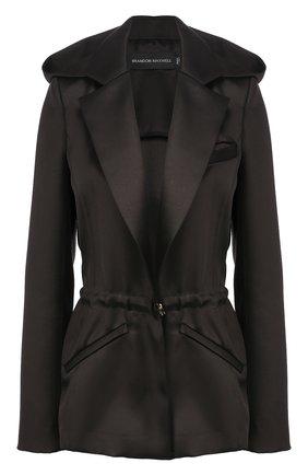 Женский жакет из смеси шерсти и шелка BRANDON MAXWELL черного цвета, арт. JK87FW19 | Фото 1