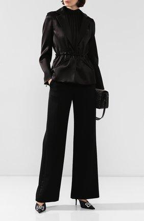 Женский жакет из смеси шерсти и шелка BRANDON MAXWELL черного цвета, арт. JK87FW19 | Фото 2