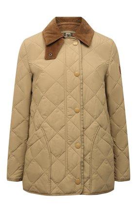 Женская стеганая куртка cotswold BURBERRY бежевого цвета, арт. 8021468 | Фото 1 (Рукава: Длинные; Материал внешний: Синтетический материал; Материал подклада: Хлопок; Длина (верхняя одежда): Короткие; Кросс-КТ: Куртка; Женское Кросс-КТ: Пуховик-куртка)