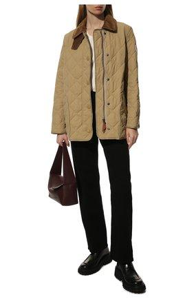 Женская стеганая куртка cotswold BURBERRY бежевого цвета, арт. 8021468 | Фото 2 (Рукава: Длинные; Материал внешний: Синтетический материал; Материал подклада: Хлопок; Длина (верхняя одежда): Короткие; Кросс-КТ: Куртка; Женское Кросс-КТ: Пуховик-куртка)