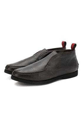 Мужские кожаные ботинки KITON темно-коричневого цвета, арт. USSFLYN00126/LINING M0NT0NE | Фото 1