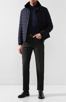Мужская хлопковая рубашка Z ZEGNA синего цвета, арт. VT212/ZZC20 | Фото 2 (Материал внешний: Хлопок; Рукава: Длинные; Длина (для топов): Стандартные; Статус проверки: Проверено, Проверена категория; Случай: Повседневный; Воротник: Кент; Принт: Однотонные; Манжеты: На пуговицах)