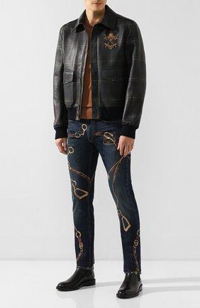 Мужские джинсы RALPH LAUREN синего цвета, арт. 790752576 | Фото 2 (Материал внешний: Хлопок; Силуэт М (брюки): Узкие; Длина (брюки, джинсы): Стандартные)