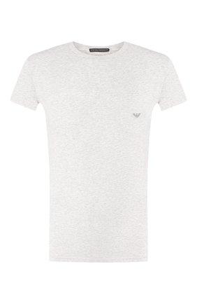 Мужские хлопковая футболка EMPORIO ARMANI серого цвета, арт. 111035/CC729 | Фото 1