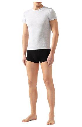 Мужские хлопковая футболка EMPORIO ARMANI серого цвета, арт. 111035/CC729 | Фото 2