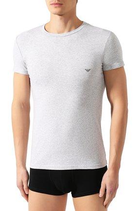 Мужская хлопковая футболка EMPORIO ARMANI серого цвета, арт. 111035/CC729 | Фото 3 (Кросс-КТ: домашняя одежда; Рукава: Короткие; Длина (для топов): Стандартные; Материал внешний: Хлопок; Мужское Кросс-КТ: Футболка-белье; Статус проверки: Проверена категория)