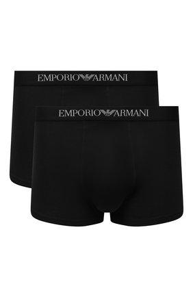 Мужские комплект из двух хлопковых боксеров EMPORIO ARMANI черного цвета, арт. 111613/CC722 | Фото 1