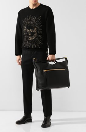Мужская кожаная дорожная сумка TOM FORD черного цвета, арт. H0401T-LCL037 | Фото 2