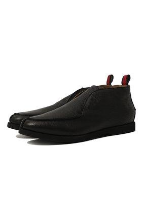 Мужские кожаные ботинки KITON черного цвета, арт. USSFLYN00126/LINING M0NT0NE | Фото 1 (Мужское Кросс-КТ: Ботинки-обувь, зимние ботинки; Материал утеплителя: Натуральный мех; Подошва: Плоская; Материал внутренний: Натуральная кожа)
