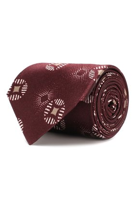Мужской шелковый галстук GIORGIO ARMANI бордового цвета, арт. 360054/9A800 | Фото 1
